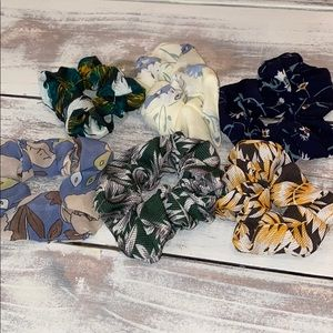 Mix of 6 Floral Scrunchies